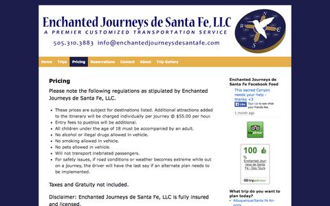 Screenshot of Pricing Page enchantedjourneysdesantafe.com - Pricing | Enchanted Journeys de Santa Fe - captured Oct. 2, 2014