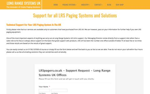 Screenshot of Support Page lrspagers.co.uk - Technical Support for all Products | LRS UK - captured Nov. 11, 2018