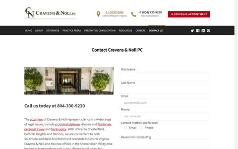Screenshot of Contact Page cravensnoll.com - Contact Cravens & Noll PC - Cravens & Noll - captured Feb. 1, 2016