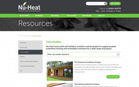 Screenshot of Case Studies Page nu-heat.co.uk - Case studies | Nu-Heat underfloor & renewables : - captured Nov. 9, 2016