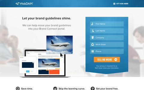 Screenshot of Landing Page webdam.com - Create Digital Brand Guidelines - WebDAM - captured Aug. 20, 2016