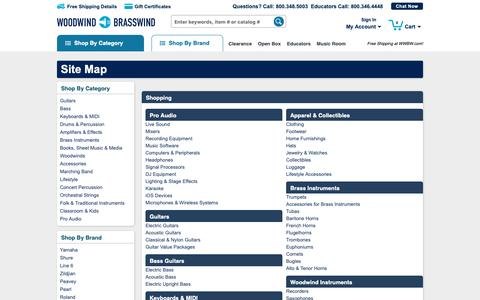Screenshot of Site Map Page wwbw.com - Site Map | Woodwind & Brasswind - captured April 13, 2019