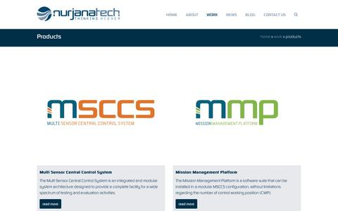 Screenshot of Products Page nurjanatech.com - Products >> Nurjana Technologies (www.nurjanatech.com) - captured Nov. 2, 2017
