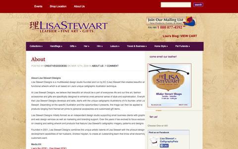 Screenshot of About Page lisa-stewart.com - About | Lisa Stewart Designs - captured Oct. 1, 2014