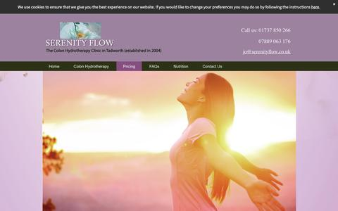 Screenshot of Pricing Page serenity-flow.co.uk - Pricing of Colonic Hydrotherapy in Ashtead, Surrey - captured Sept. 21, 2018