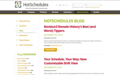 Screenshot of Blog hotschedules.com - HotSchedules Blog - captured Sept. 18, 2014