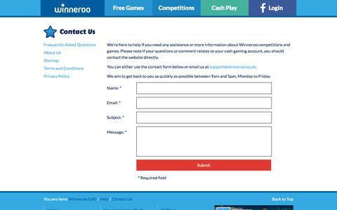 Screenshot of Contact Page winneroo.co.uk - Contact Us - Winneroo - captured Sept. 20, 2018