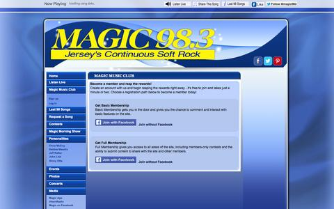 Screenshot of Signup Page magic983.com - Magic Music Club Join Page - captured Oct. 3, 2014