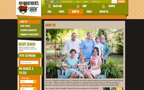 Screenshot of About Page mybrotherssalsa.com - About Us  |  My Brother's Salsa - captured Sept. 25, 2014