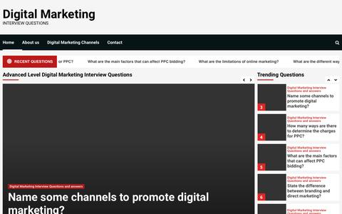 Screenshot of Home Page digitalmarketinginterview.com - Welcome to Digital Marketing Interview Portal - Digital Marketing - captured May 23, 2019