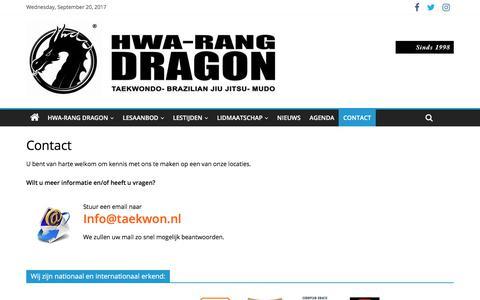 Screenshot of Contact Page taekwon.nl - Contact | HWA-RANG DRAGON - captured Sept. 20, 2017