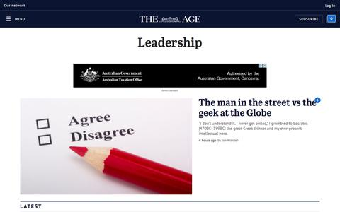 Screenshot of Team Page theage.com.au - Topic   Political leadership   The Age - captured Sept. 21, 2018