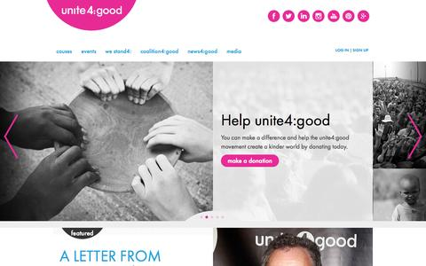 Screenshot of Home Page unite4good.org - unite4:good |  unite4:humanity - captured Oct. 7, 2014