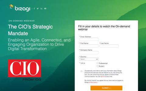 Screenshot of Landing Page bizagi.com - The CIO's Strategic Mandate - captured Sept. 19, 2018