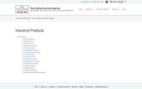 Screenshot of Products Page taralagoy.com - Insurance Products - Tara LaGoy Insurance Agency - captured Dec. 1, 2016