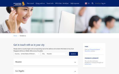 Screenshot of Contact Page singaporeair.com - Contact us - captured Aug. 20, 2016