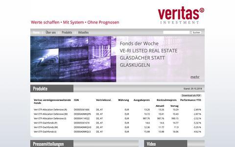 Screenshot of Home Page veritas-investment.de - Veritas Investment | Werte schaffen • Mit System • Ohne Prognosen - Vertias investment - captured Oct. 29, 2018