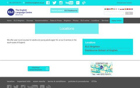 Screenshot of Locations Page elc-brighton.co.uk - Locations - captured Nov. 30, 2016