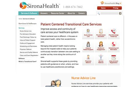 Screenshot of Services Page sironahealth.com - Patient Centered Transitional Care Services | SironaHealth - captured Sept. 19, 2014