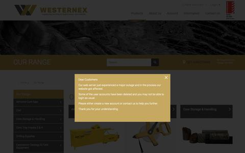 Screenshot of Products Page westernex.com.au - OUR RANGE - captured Nov. 7, 2018