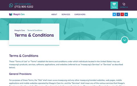 Screenshot of Terms Page maaep.org - Terms & Conditions – Maaga's Care - captured Oct. 27, 2017