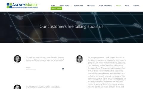 Screenshot of Testimonials Page agencymatrix.com - Agency Testimonials | Software Testimonials | Agency Matrix - captured July 29, 2018
