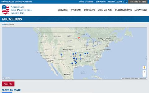 Screenshot of Locations Page afpgusa.com - Locations | American Fire Protection Group - captured May 28, 2017