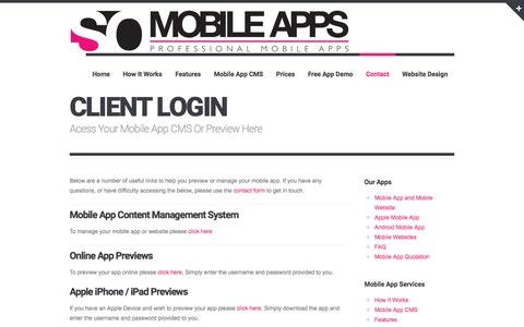 Screenshot of Login Page sowebmobileapps.co.uk - Client Login - SO Web Mobile Apps - captured Jan. 4, 2017