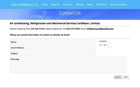 Screenshot of Contact Page armcaribbeanltd.com - Contact Us | ARM CARIBBEAN LTD - captured Dec. 23, 2015
