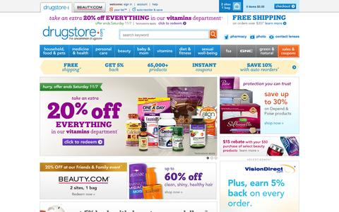 Screenshot of Home Page drugstore.com - drugstore.com - Vitamins, Skin Care, Makeup, Health Products and more - captured Nov. 5, 2015