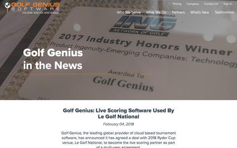 Screenshot of Press Page golfgenius.com - Golf Genius Software - captured April 2, 2018