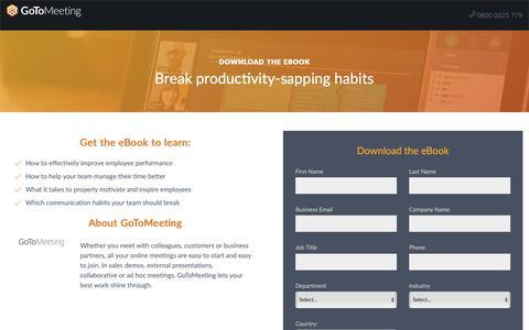Screenshot of Landing Page gotomeeting.com - Break productivity-sapping habits - captured Sept. 30, 2018