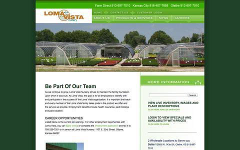 Screenshot of Jobs Page lomavistanursery.com - Loma Vista Careers - captured Sept. 30, 2014