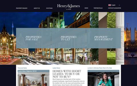 Screenshot of Home Page henryandjames.co.uk - Estate Agents Belgravia & Chelsea - Henry & James - captured Jan. 28, 2016