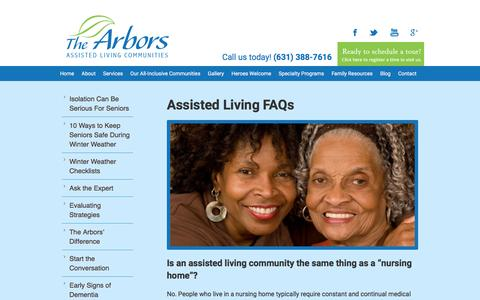 Screenshot of FAQ Page thearborsassistedliving.com - Assisted Living FAQs | The Arbors Assisted Living Long Island - captured Oct. 3, 2016