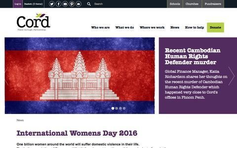 Screenshot of Press Page cord.org.uk - Cord | News - captured July 16, 2016