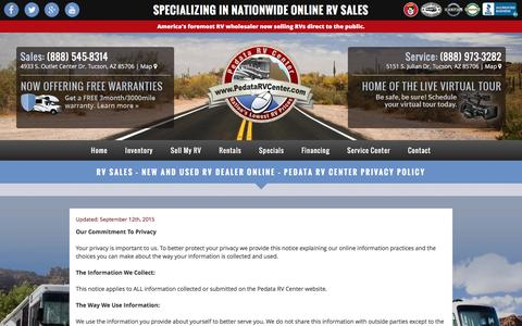 Screenshot of Privacy Page pedatarvcenter.com - RV Sales - New and Used RV Dealer Online - Pedata RV Center Privacy Policy - Pedata RV Center Arizona - captured Dec. 7, 2015
