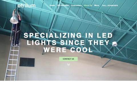 Screenshot of About Page etrilum.com - Etrilum Light Inc. - Eastern Ontario's LED lighting solution provider | About Us - captured Nov. 11, 2016