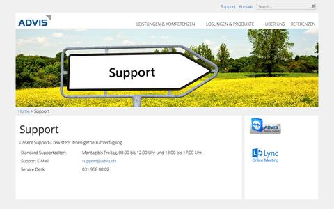 Screenshot of Support Page advis.ch - ADVIS AG - Support - captured Oct. 4, 2014