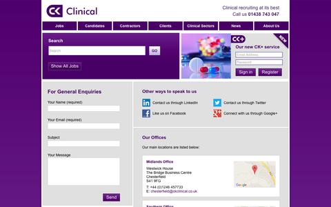 Screenshot of Contact Page ckclinical.co.uk - Contact us for additional information  | CK Clinical - captured July 9, 2016