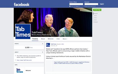 Screenshot of Facebook Page facebook.com - TabTimes   Facebook - captured Oct. 26, 2014