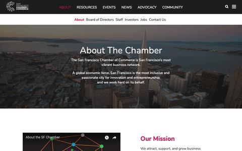Screenshot of About Page sfchamber.com - About | San Francisco Chamber of Commerce - captured Oct. 1, 2018