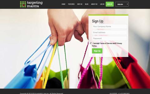 Screenshot of Signup Page targetingmantra.com - Targeting Mantra - captured Oct. 29, 2014