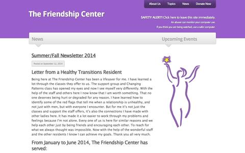 Screenshot of Press Page thefriendshipcenter.org - The Friendship Center | Archive | News - captured Oct. 29, 2014