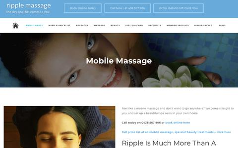 Screenshot of Locations Page ripplemassage.com.au - Mobile Massage | More Than An In Home Massage | Ripple Spa - captured Oct. 18, 2018