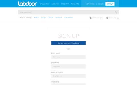 Screenshot of Signup Page labdoor.com - Sign Up - LabDoor - captured July 18, 2014