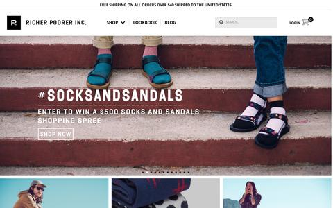 Screenshot of Home Page richer-poorer.com - Richer Poorer | Los Angeles, CA | Richer Poorer Socks - captured Oct. 18, 2015