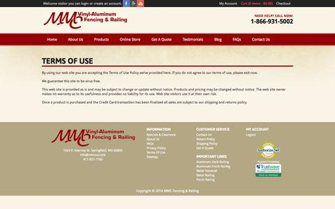 Screenshot of Terms Page mmcfencingandrailing.com - Terms Of Use - MMC Fencing & Railing - captured Oct. 3, 2014