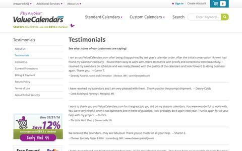 Screenshot of Testimonials Page valuecalendars.com - Client Testimonials | ValueCalendars.com - captured Feb. 26, 2016