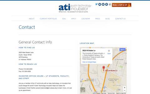 Screenshot of Contact Page utexas.edu - Contact - Austin Technology Incubator - captured Sept. 19, 2014